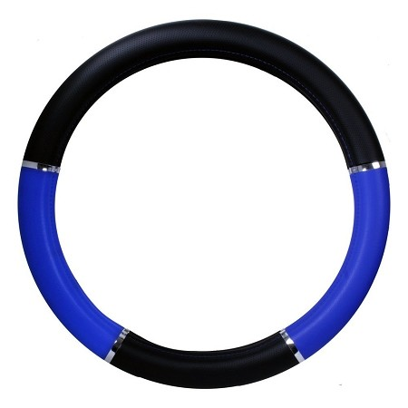 "18"" Steering Wheel Cover Blue and Black"